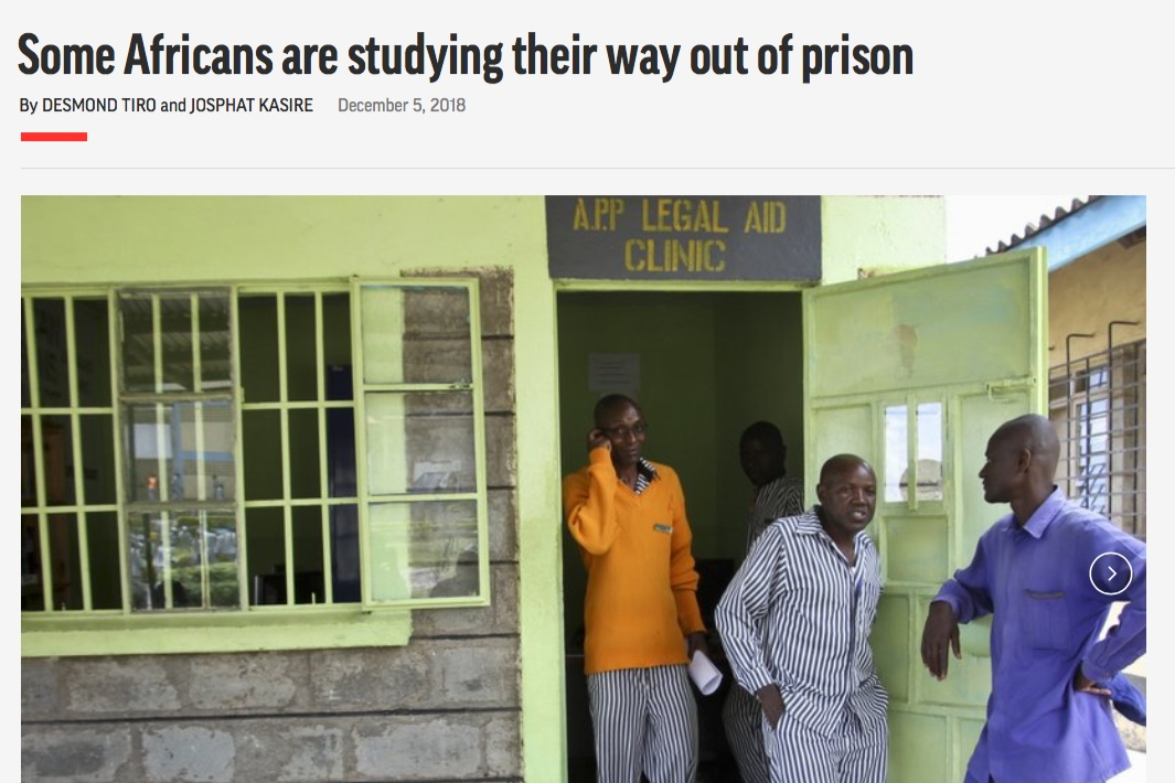 Article – Associated Press - Morris Kaberia was on Kenya's death row and feeling suicidal when he came across a program that eventually set him free.