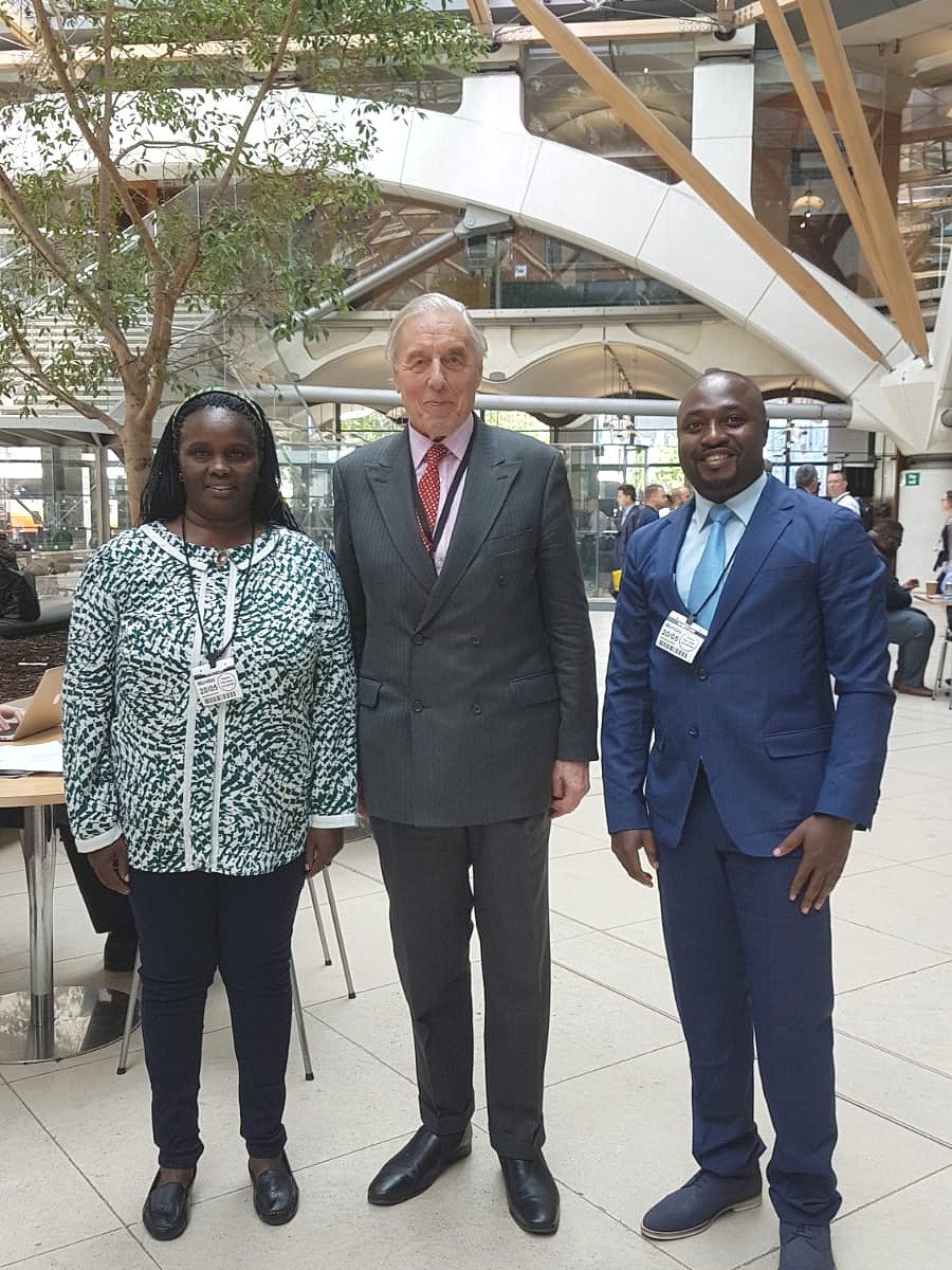Dorothy Mutemi (Left), APP Patron Lord Ramsbotham (Center) and Daniel Nde Tawembe (Right)