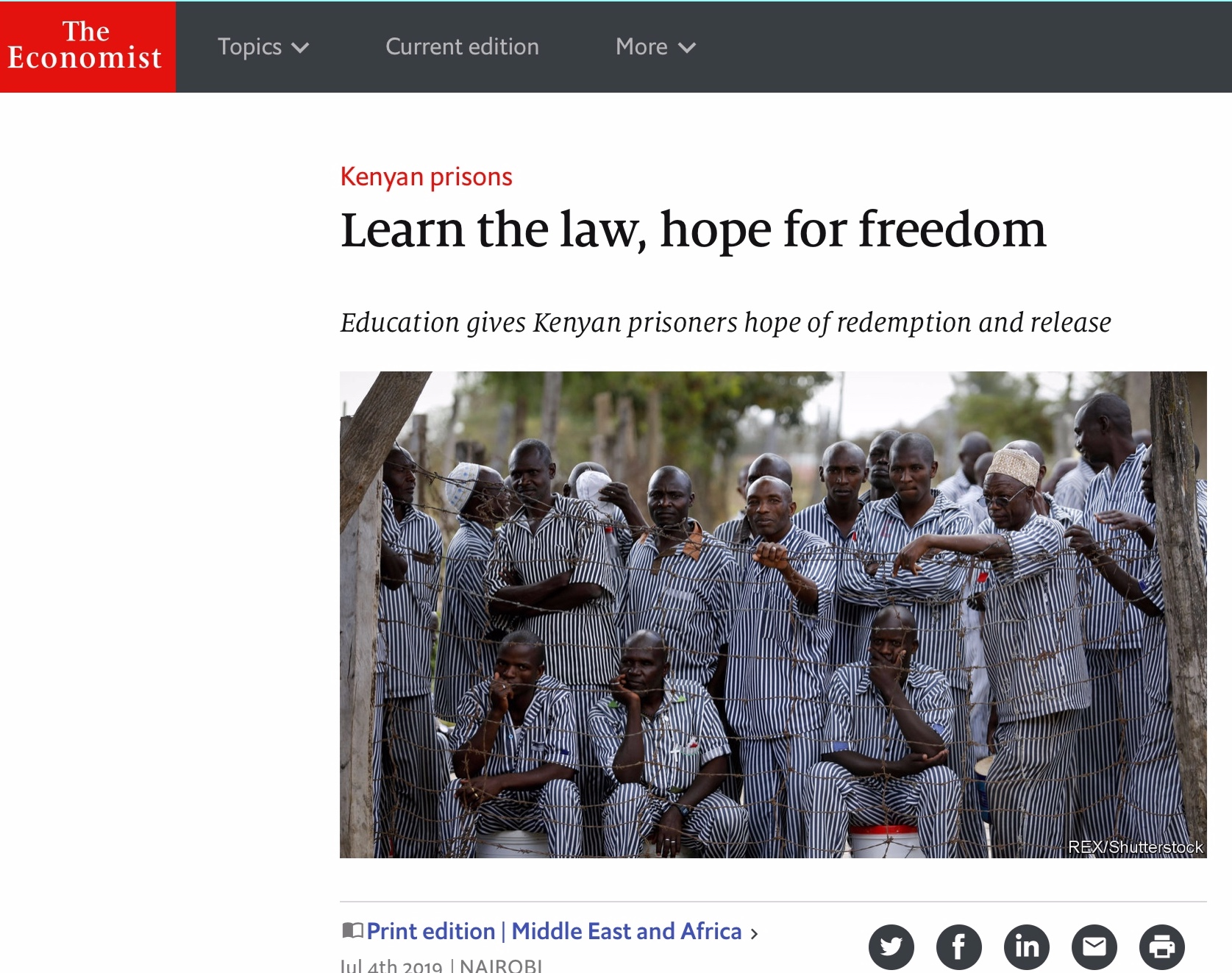 Article – The Economist - Learn the law, hope for freedomEducation gives Kenyan prisoners hope of redemption and release.