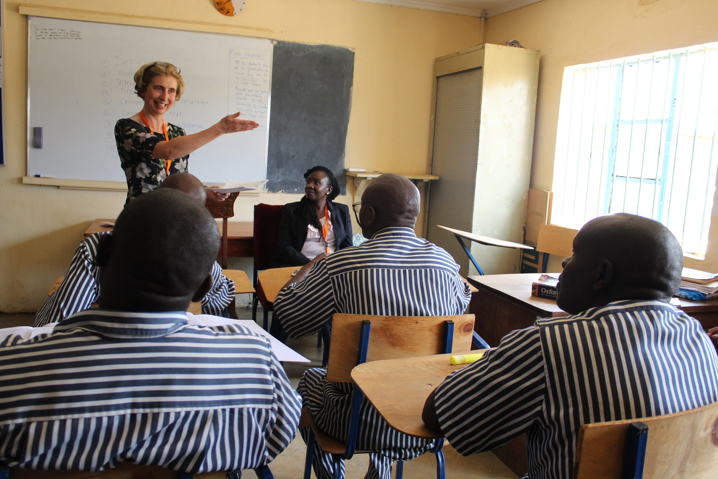 Patricia McKellar, Associate Director Undegraduate Laws at the University of London during a visit at Kamiti Maximum Prison's law class.
