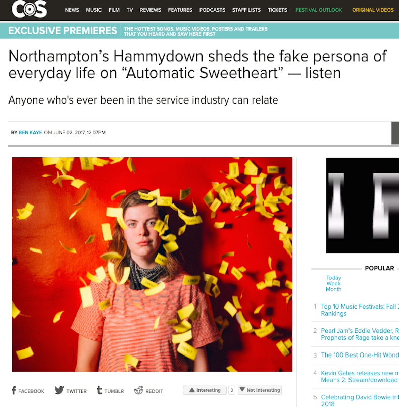 """Consequence of Sound - """"Automatic Sweetheart"""" is a jammy bit of garage pop, bopping around on a chilled out bass line and psychedelic guitar slides before shaking off the expectations of the 'robot persona'on the chorus."""