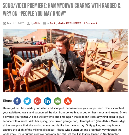 """Glide Magazine - """"With top tone minimalist guitar rock that rides the line between smirky and art punk, Hammydown carries a bravado rarely heard from young bands."""""""
