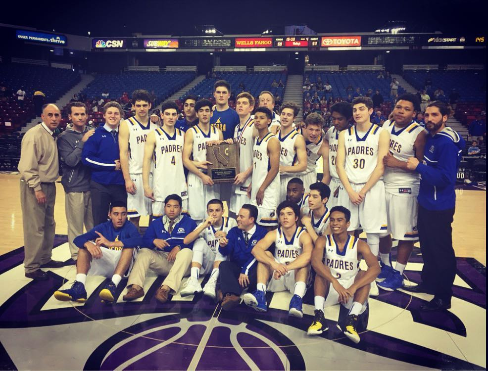 Serra High School 2016 State Championship picture. Justin Matsu pictured sitting in middle under the trophy during his Junior year.