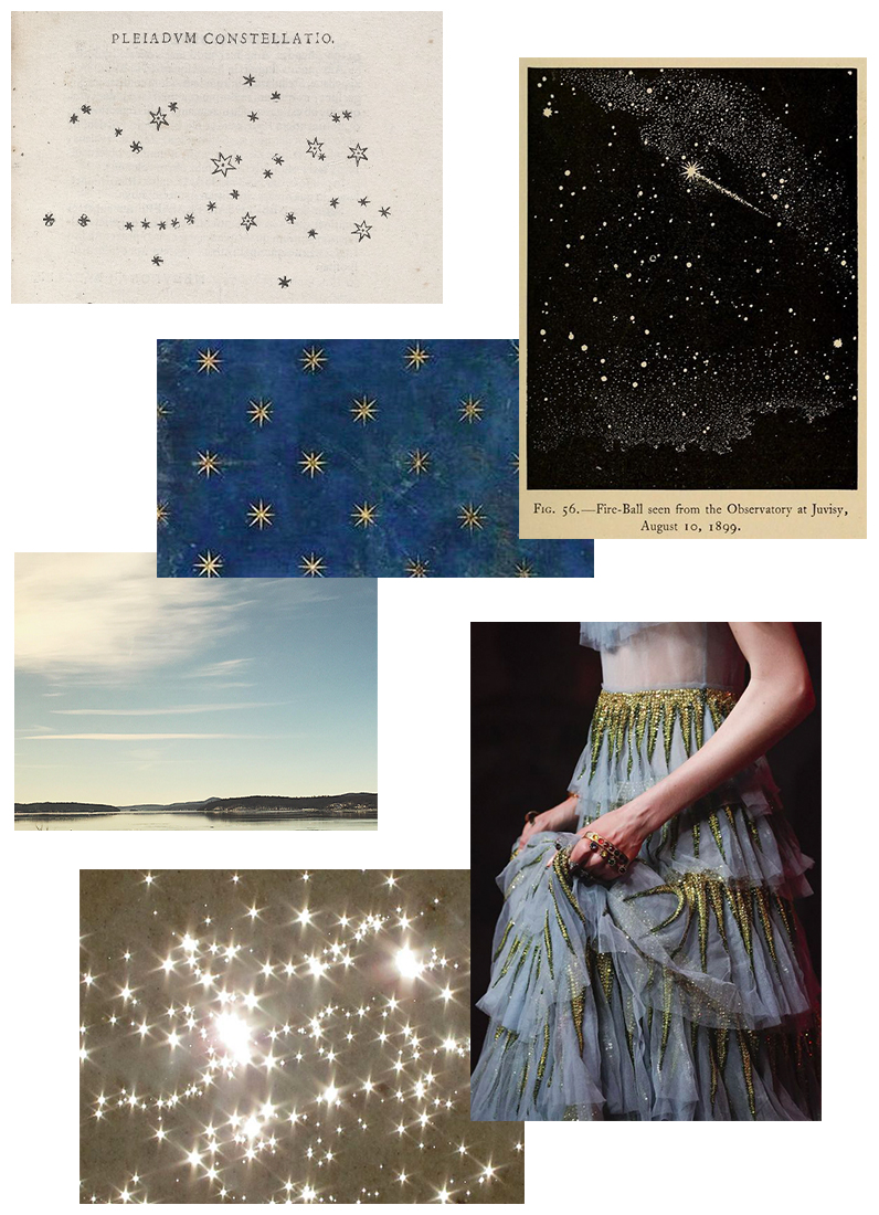 """Image credits, clockwise from top left:   sketch from     from Galileo's Sidereus Nuncius;  found image of an antique plate via Pinterest; detail of Gucci gown from Spring 2017; """"Stars of the Ocean,"""" photo by Marit Hettinga via Flickr; personal photo taken in upstate New York; detail of ceiling fresco by Giotto."""