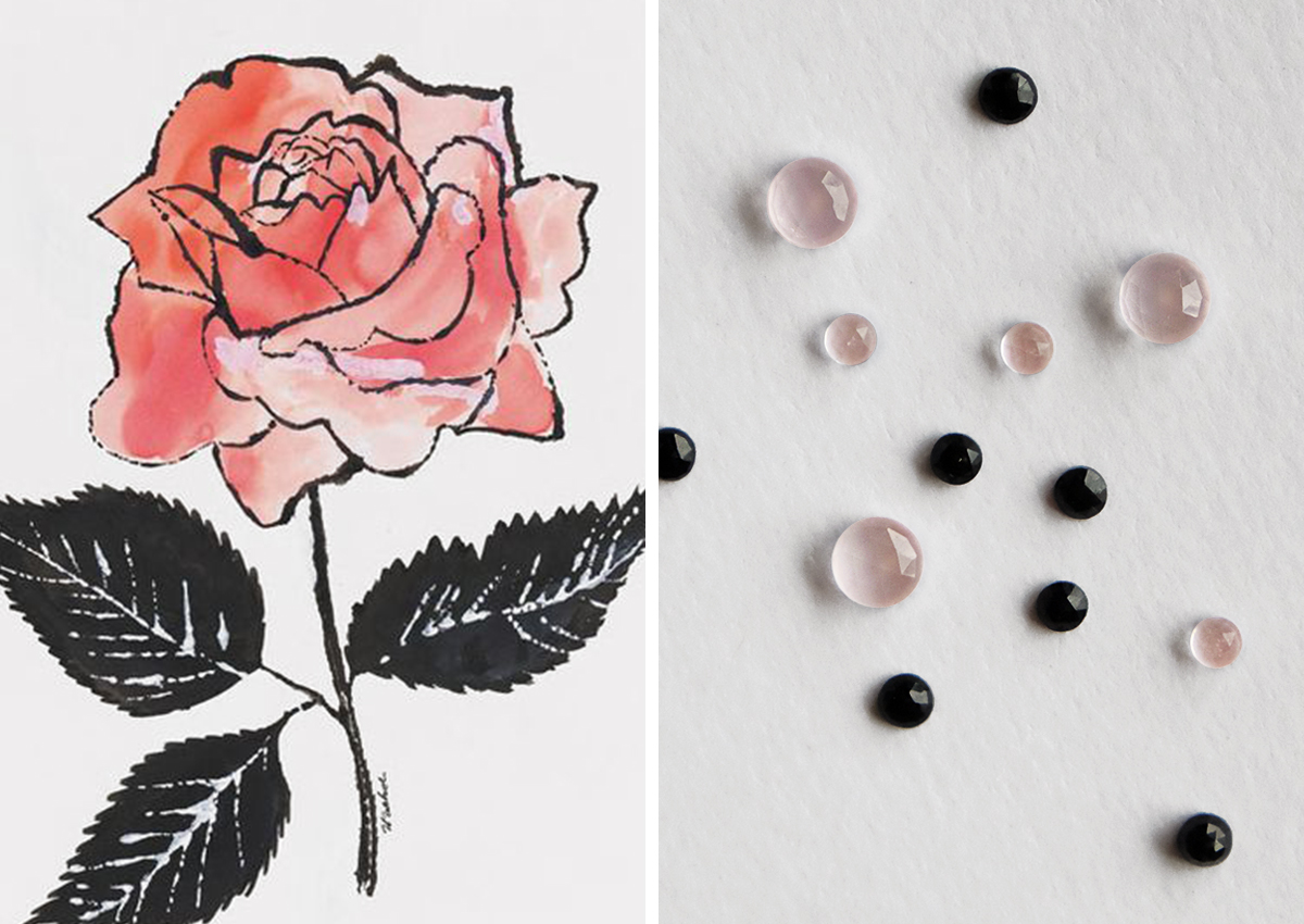 Left:   Untitled Andy Warhol illustration;   Right:   Rose quartz and black spinel rose cut stones.