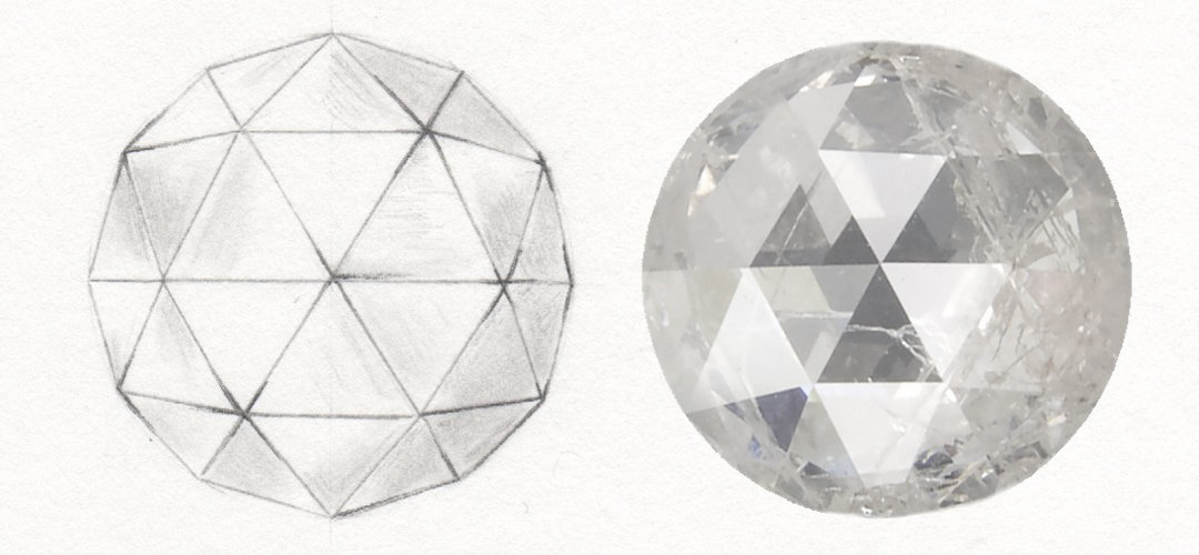 "Rose cut illustration, via Erstwhile Jewelry's  ""History of Diamond Cutting"""