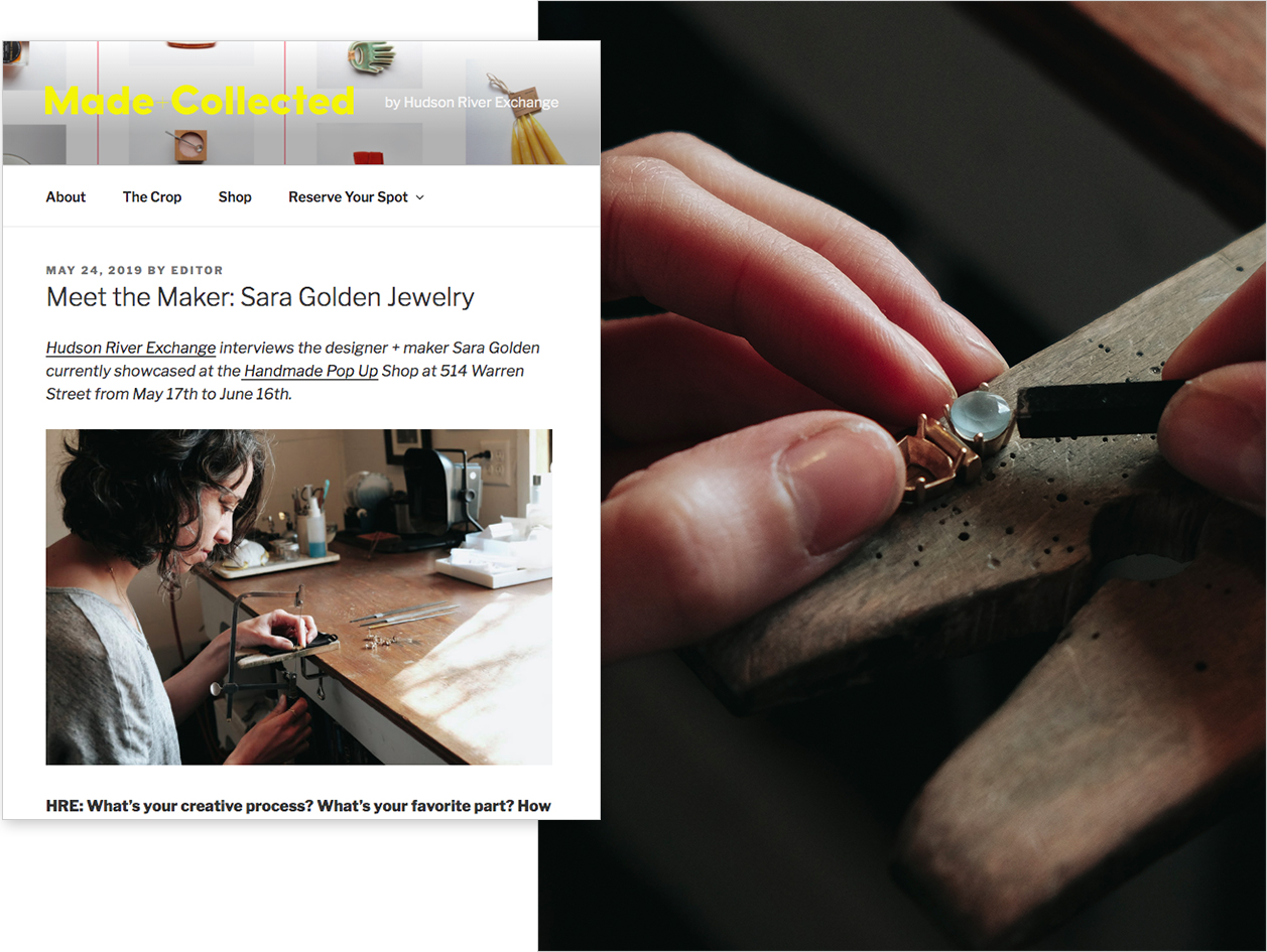 "Made + Collected  , May 2019  ""Meet the Maker: Sara Golden Jewelry"""