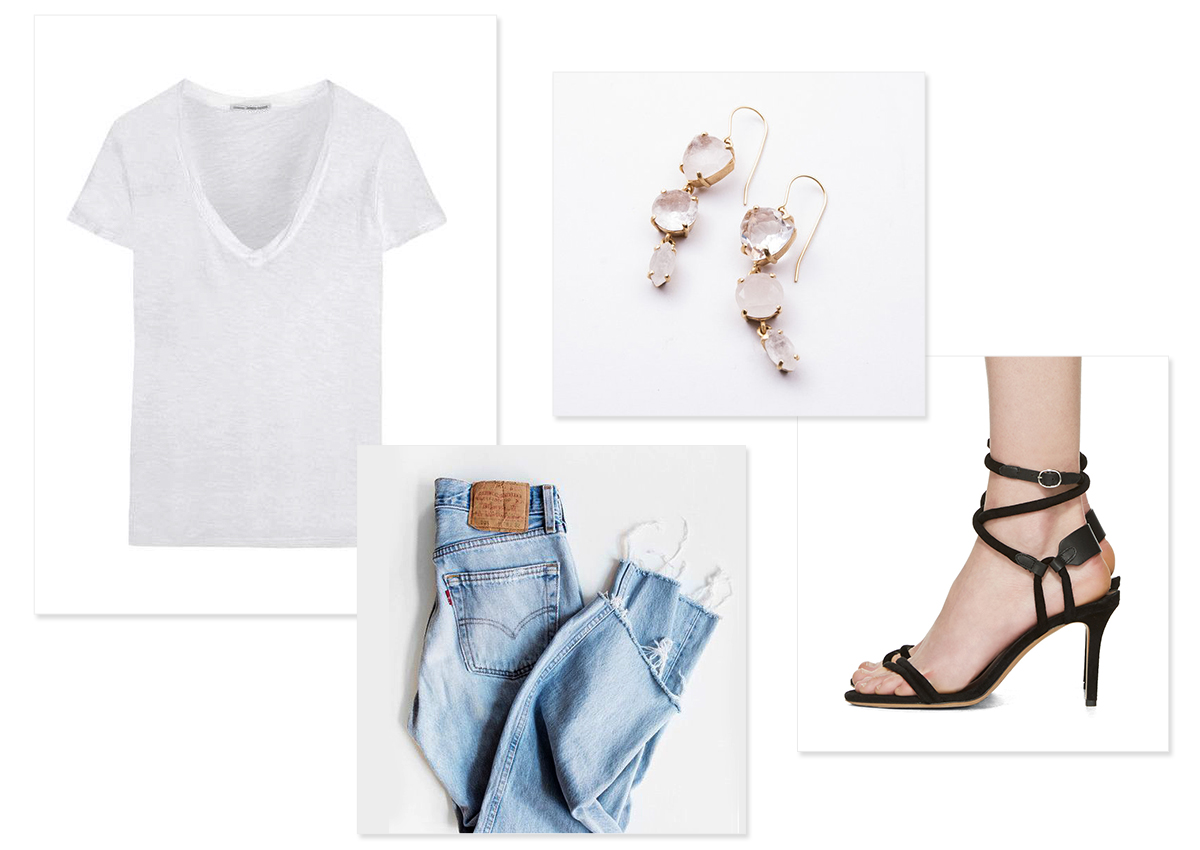 Images, clockwise from top left:    James Perse tee ;  Ridgeline Drops ;  Isabel Marant heeled sandals ; vintage Levi's