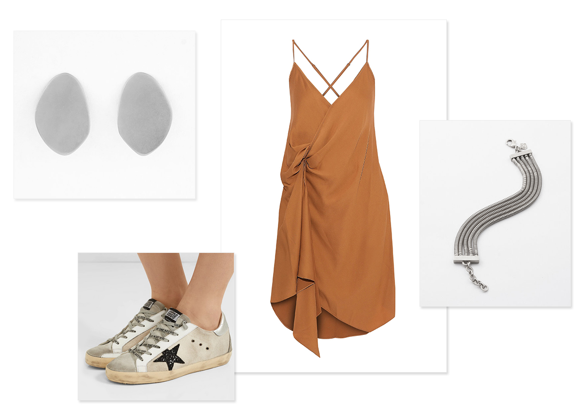 Images, clockwise from top left:    Nova Clip-On Earrings ;  Michelle Mason wrap dress ;  Undercurrent Bracelet ;  Golden Goose sneakers