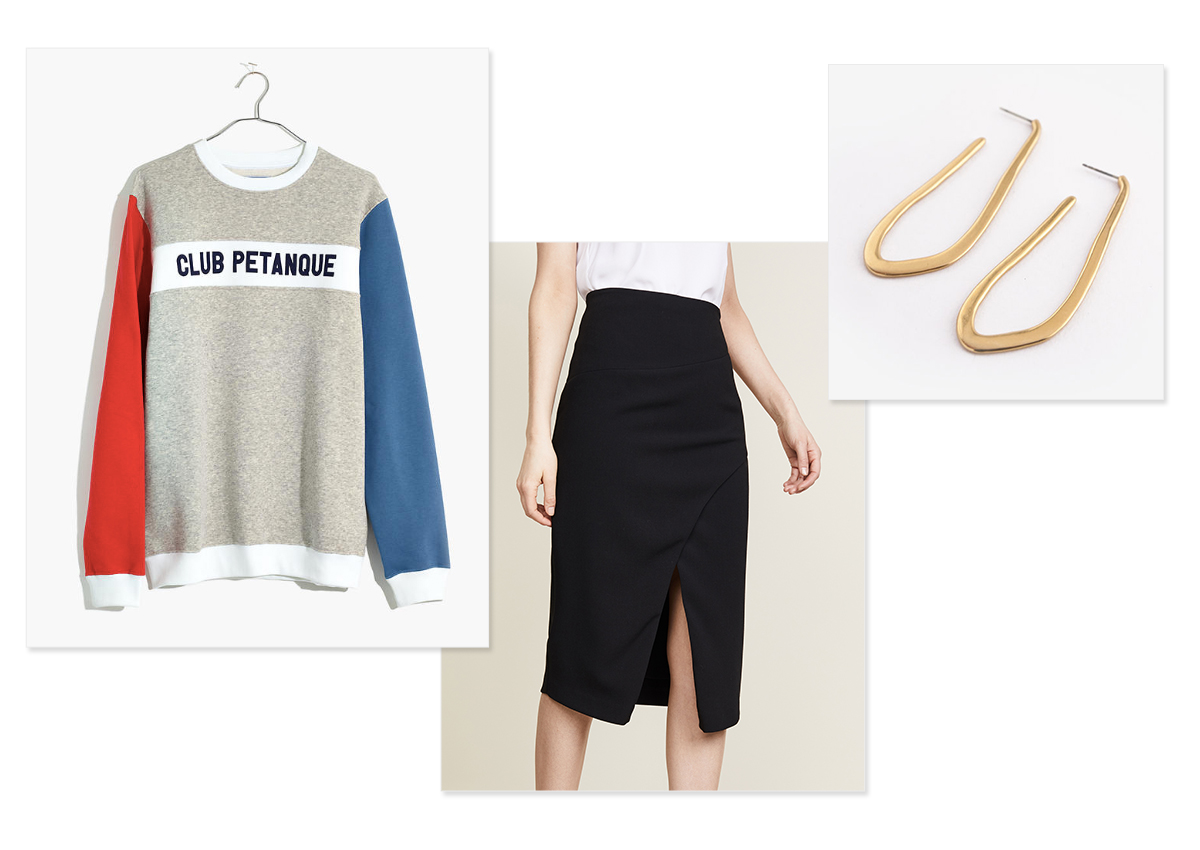 Images, left to right:    Madewell sweatshirt ;  Black Halo skirt ;  Halo Hoops