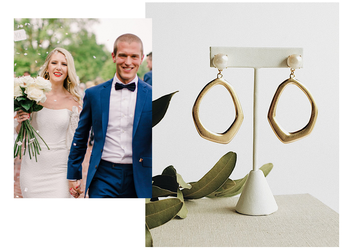 Left:   Molly and Andrew walking down the aisle, photo by Meghan Baskin;   Right:   Molly's custom earrings