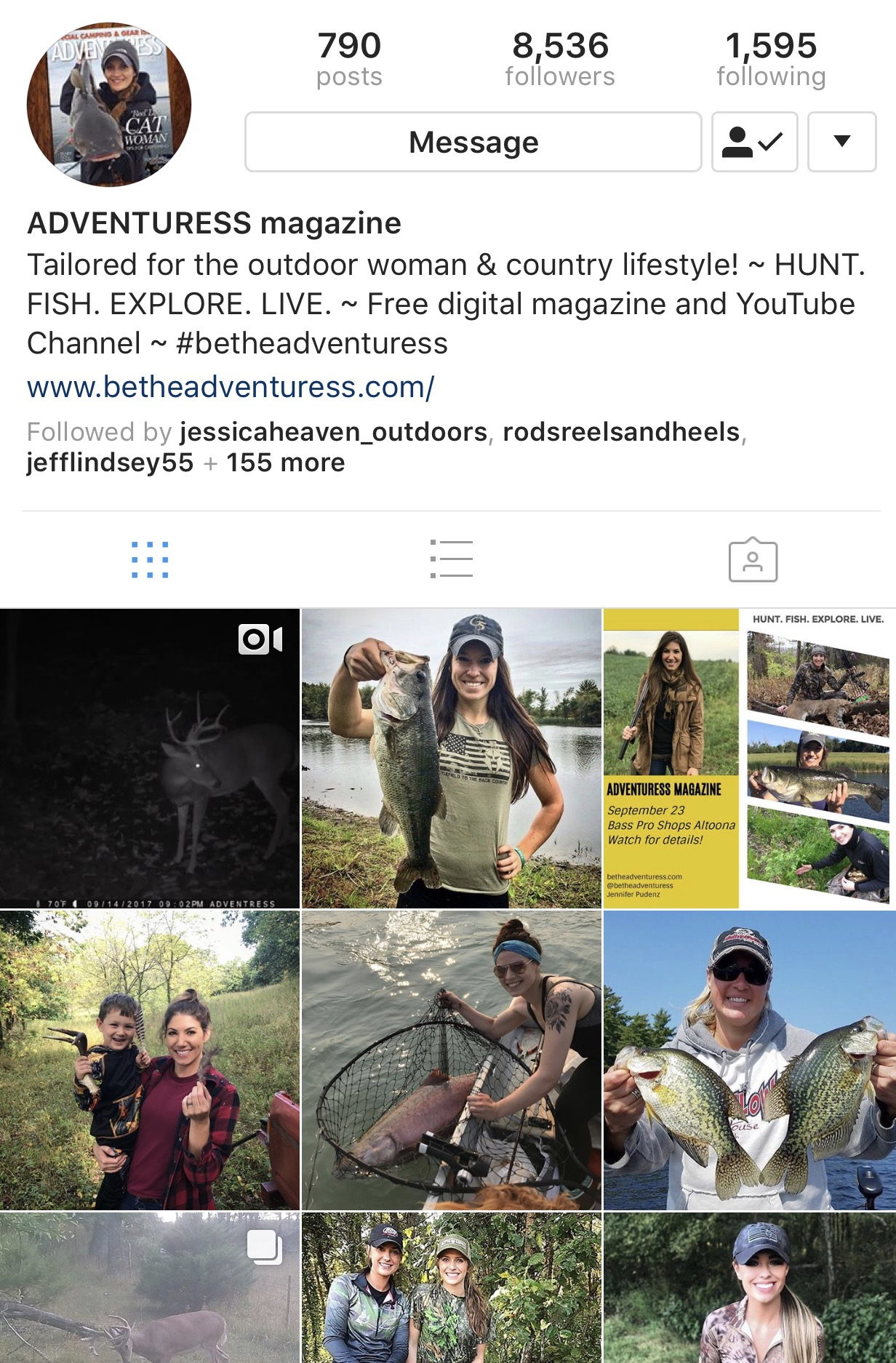 - ADVENTURESS is a free digital magazine tailored for the outdoor woman and country lifestyle. With articles written by and photos showcasing fellow outdoor women, it is intending to inspire women to try new things and inform them for greater skills in anything outdoors, including hunting, fishing, gathering, gardening and do-it-yourself projects ~ HUNT. FISH. EXPLORE. LIVE.Currently, ADVENTURESS is a quarterly magazine, releasing an issue each spring, summer, fall and winter. The magazine can be viewed from any digital device (computer, laptop, smartphone, tablet) as well as downloaded as a PDF for personal storage and offline viewing. Past articles can be found in blog format and searchable on the website.