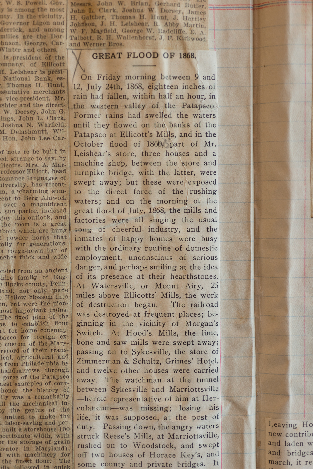 Account of the 1868 Ellicott City Flood, from the archives of the Howard County Historical Society