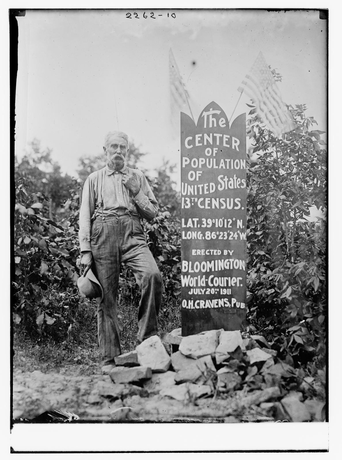 The Center of Population of U.S. [man standing next to memorial stone],Bain News Service [publisher],ca. 1910 and ca. 1915, via Library of Congress