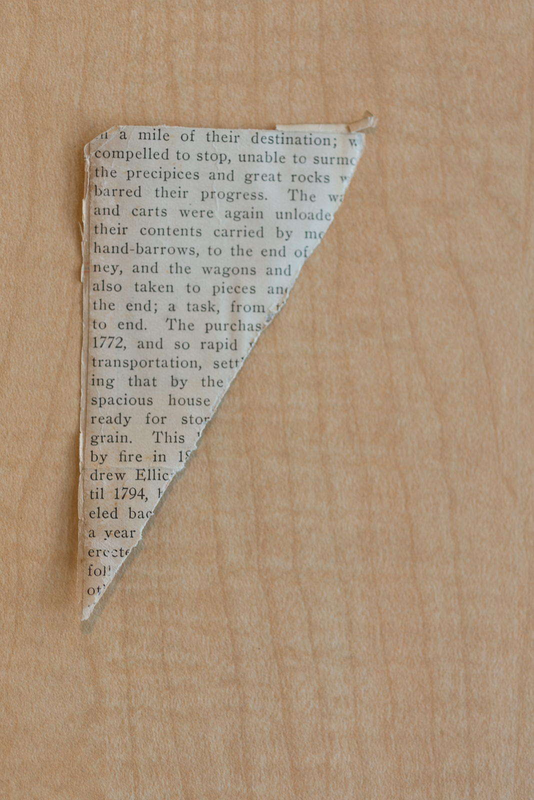 Newspaper Fragment from the Collection of the Howard County Historical Society, Date Unknown, Ellicott City, Maryland 2017