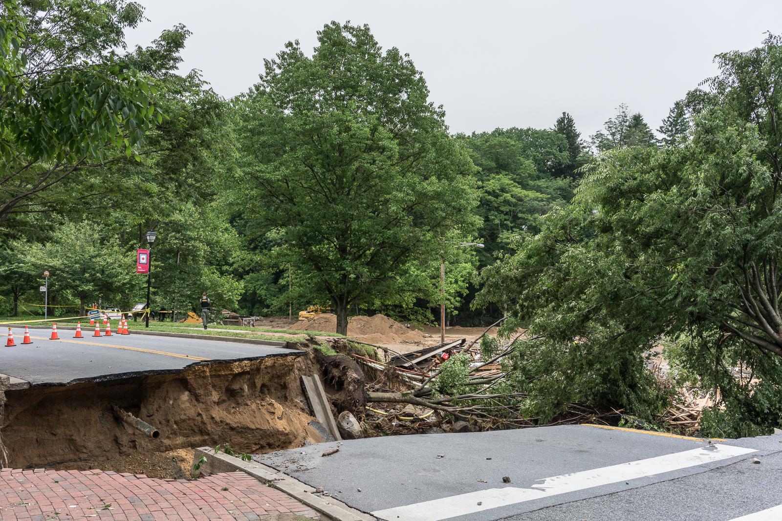 Road Broken by Flooding, Ellicott City, Maryland, 2018