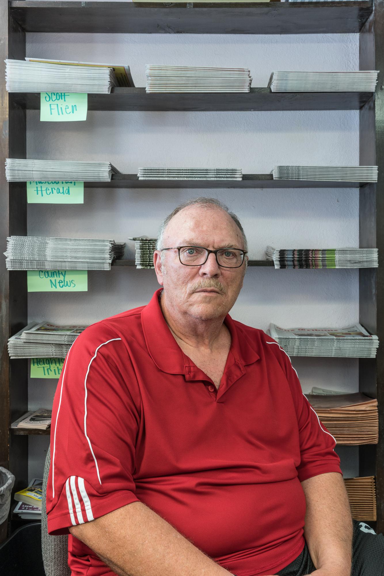 Gene at the Herald, Mascoutah, Illinois, 2017