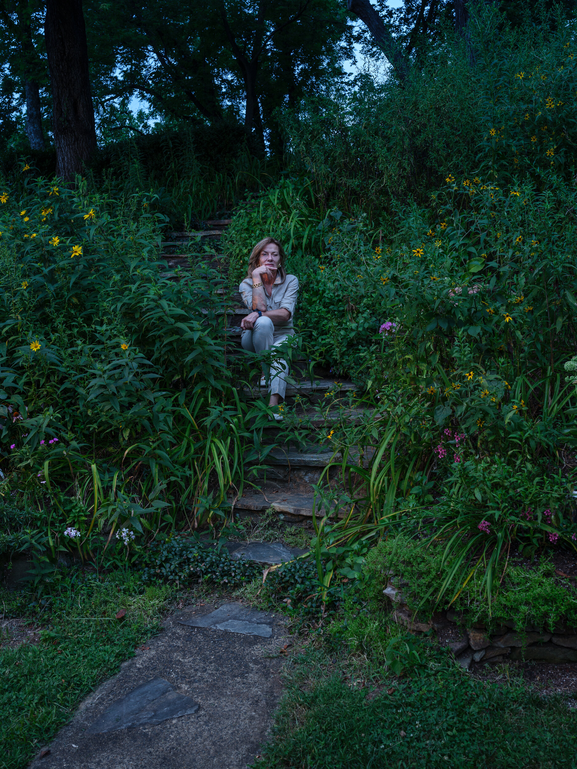 Cate in the Garden at the Pierpoint House, Waterford, Virginia,