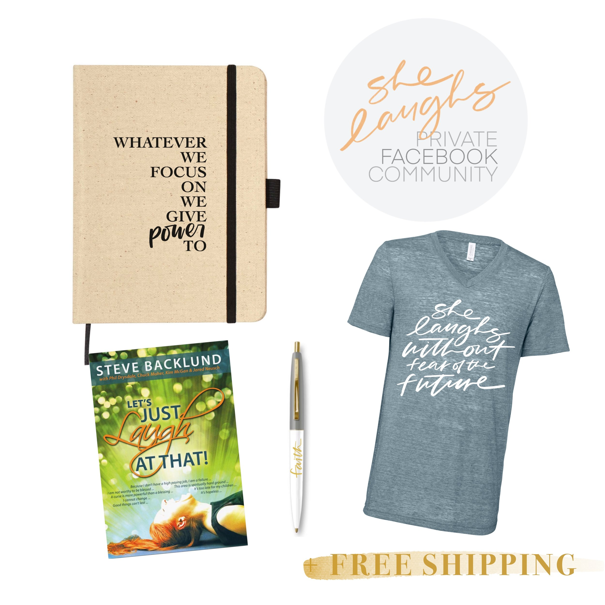 I'm Expectant! - Let's Just Laugh At That BookExclusive Canvas Journal/NotebookGold-accented Ballpoint Pen (your choice from 7)Exclusive V-Neck Tee (sizes XS-2XL)Private Facebook CommunityFree Domestic Shipping$39
