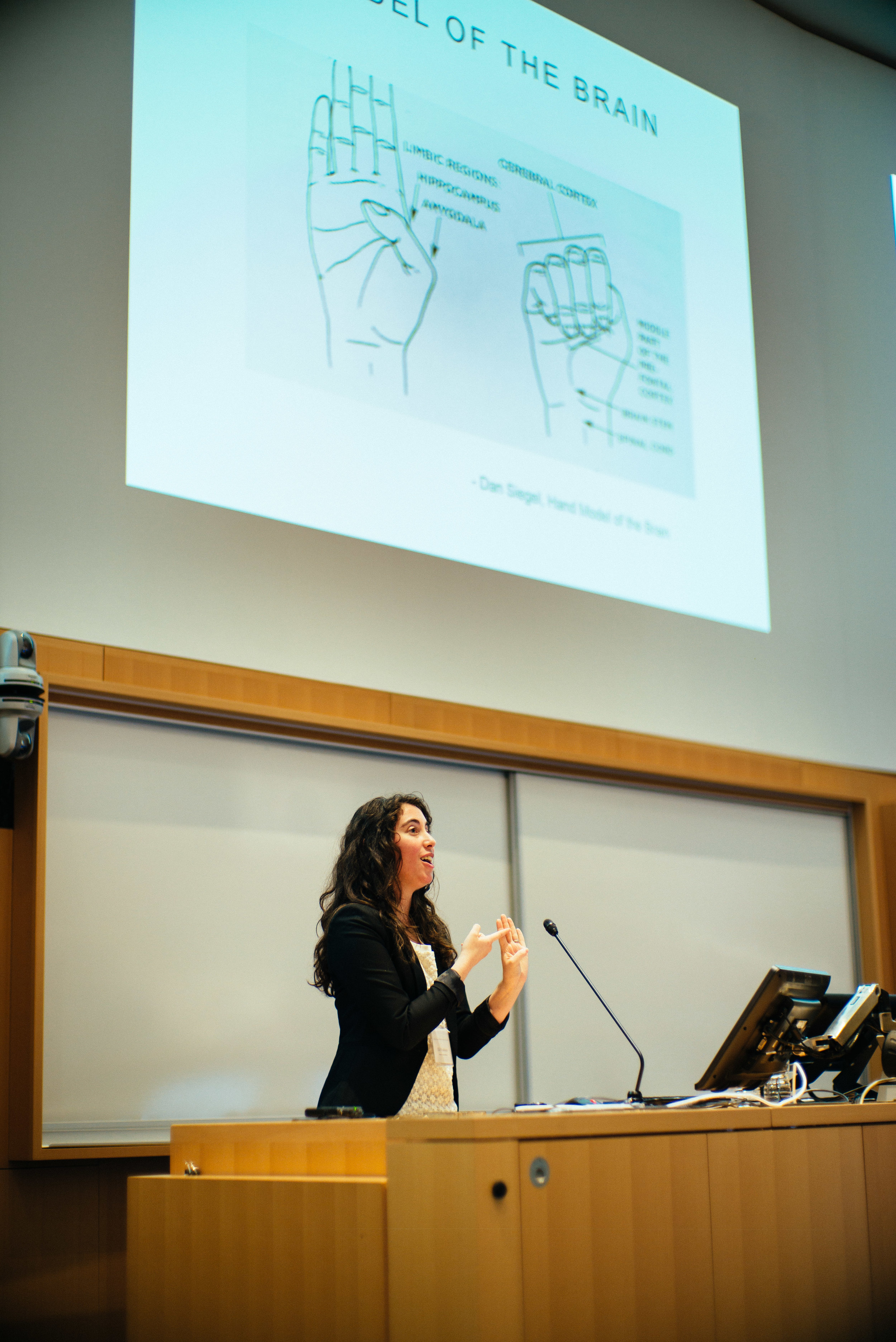 "Elli Weisbaum discussing the ""hand model"" of the brain"