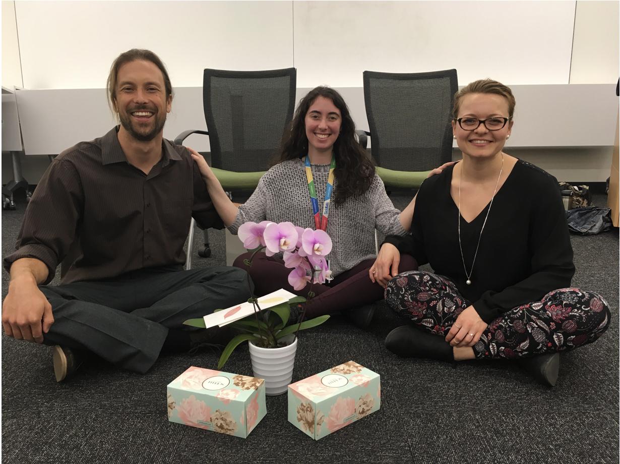 Sitting with program facilitators after the final mindfulness session. From left: David Viafora, Elli Weisbaum, Dagmara Urbanowicz.