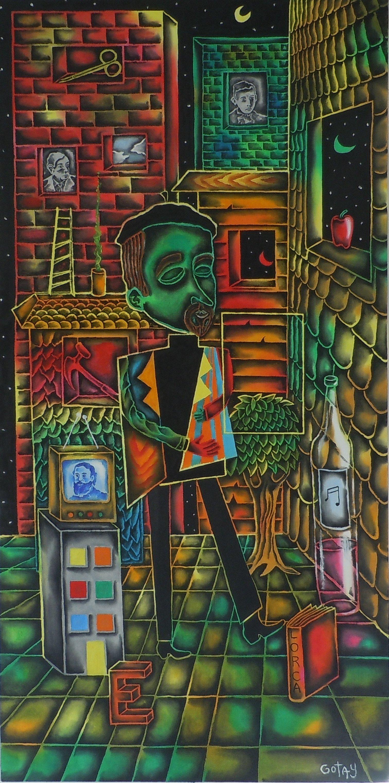 "Unself portrait in rectangular weather    24"" x 48""    Oil on linen"