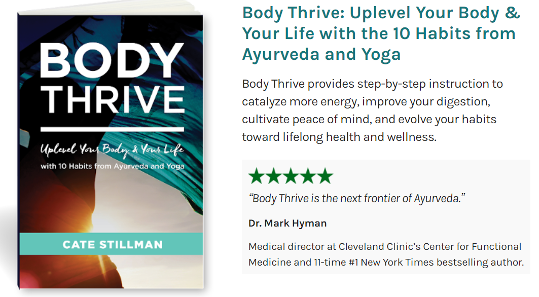 Body Thrive book by Cate Stillman.  Image credit from the bodythrive website for sharing in the book club I (Brenda Kyle (Green) host. This is the newly released 2019 edition. (affiliate links used at top of page for this book, as an Amazon Associate)