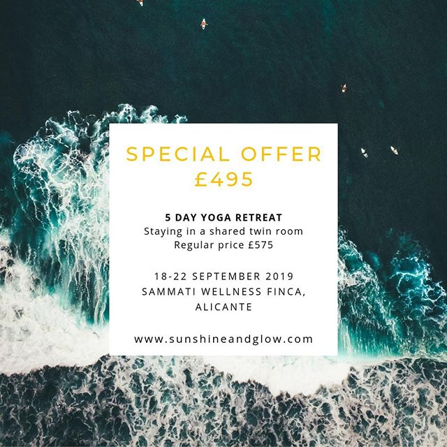We have a couple of spaces left in our September retreat in Spain and a very special offer if you'd like to have a late summer escape to the sun. As well as practising yoga twice a day you will have a chance to explore the local mountains, do SUP yoga at the local beach or treat yourself to a massage.⁠ ⁠ DM us if you have any questions and if you would like to book your place go to sunshineandglow.com/spain.⁠ ⁠ ⁠ #retreat #selfcare #wellbeing #yoga #retreatyourself #yogaholiday #yogaretreat #yogaeverywhere #yogalifestyle #yogalife #letsgo #sunshineandglow #yogaretreatspain #SUPyoga #massage #luxuryretreat⁠ ⁠