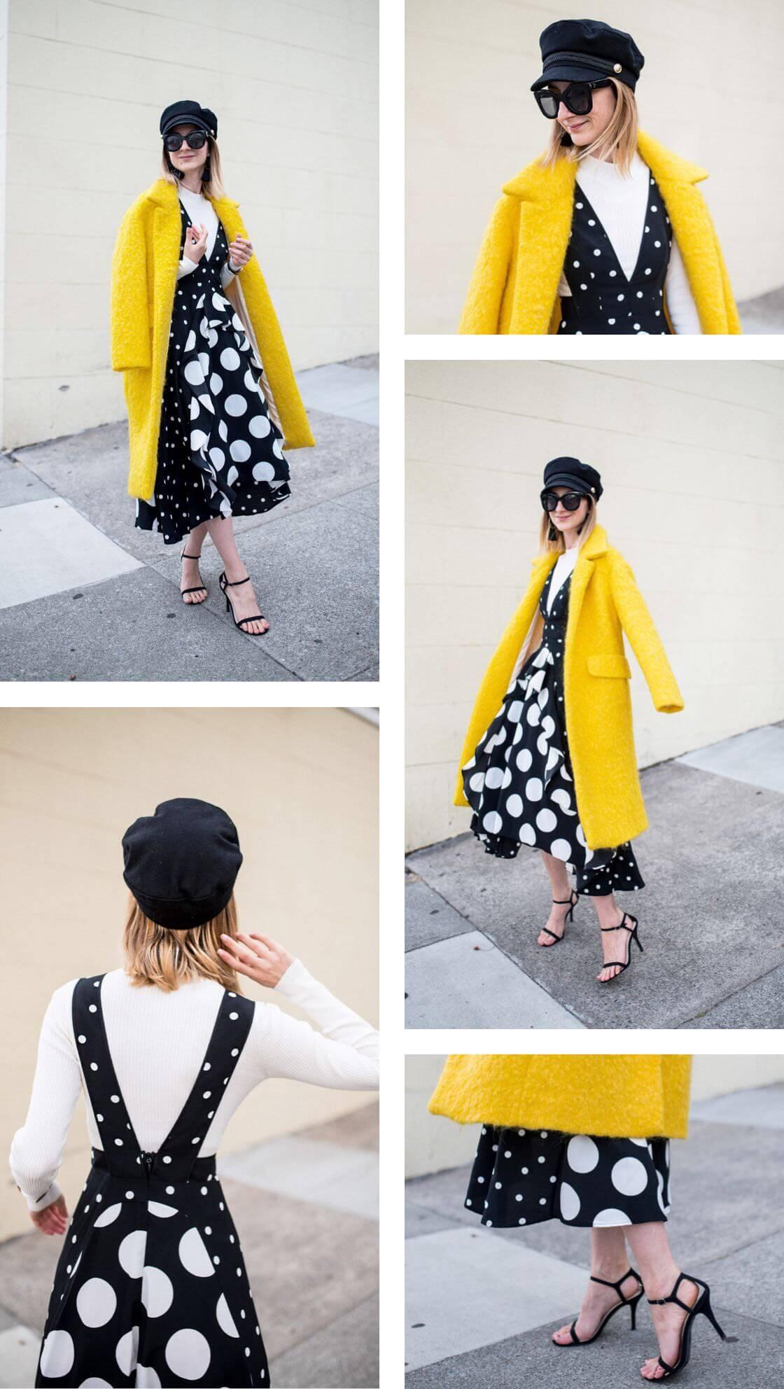 Black-White-Polkadot-Dress-Yellow-WoolCoat.JPG