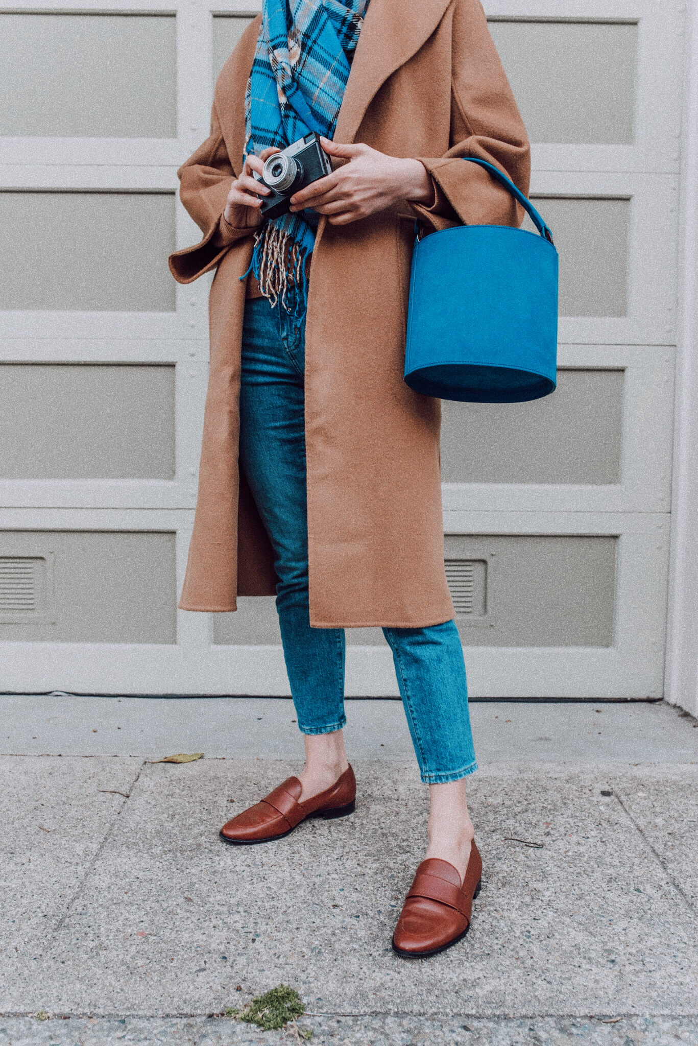 Sezane Mona Bag Blue Beige Wool Coat