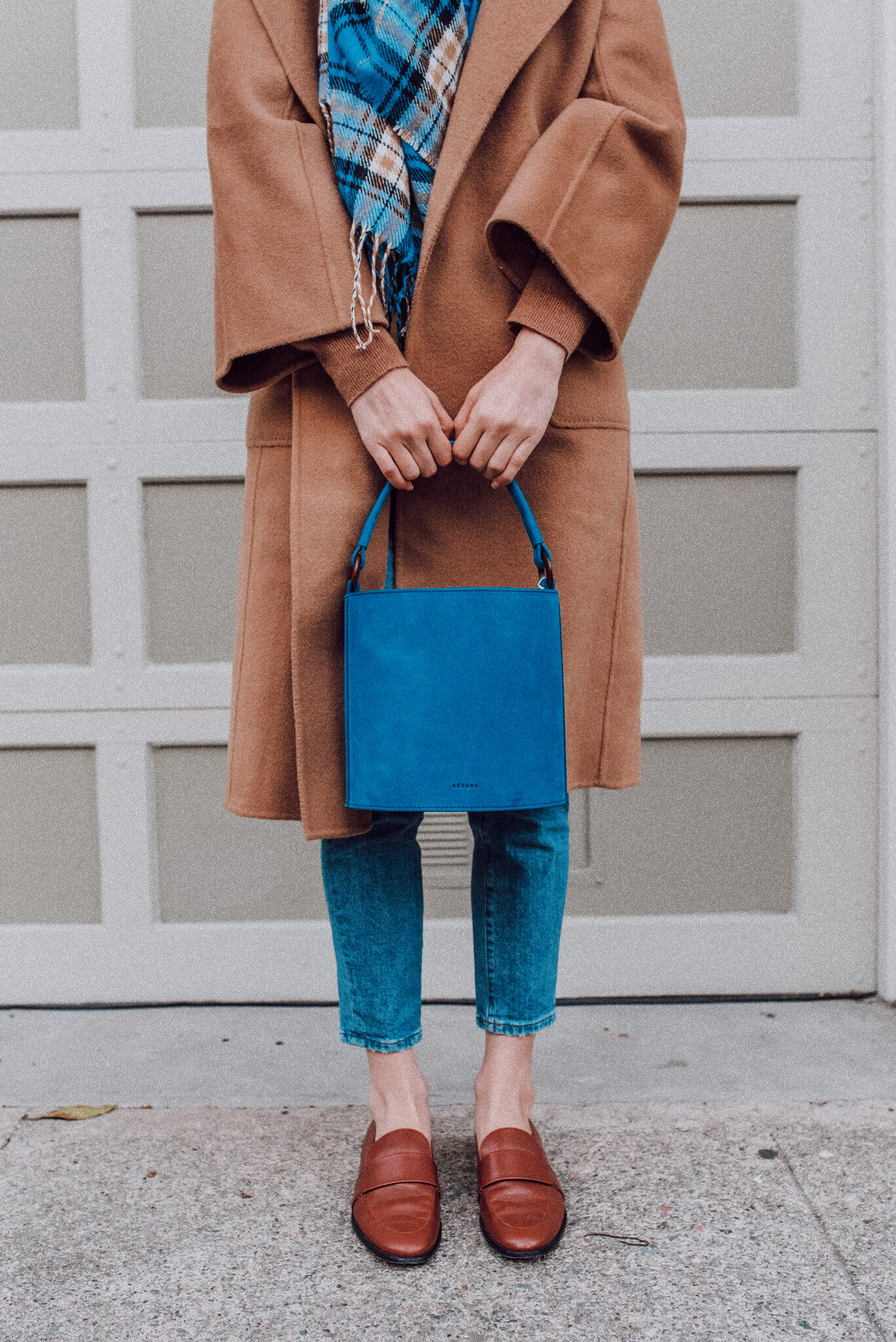 blue sezane mona bag