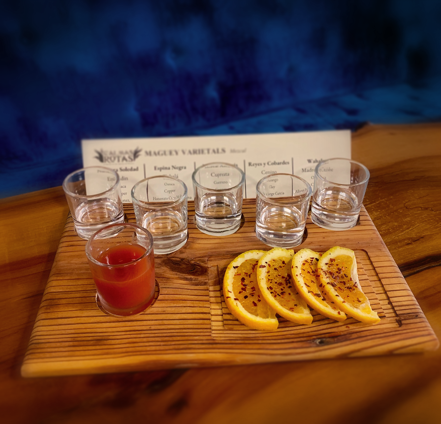 The Maguey flight is an excellent introduction to mezcal.