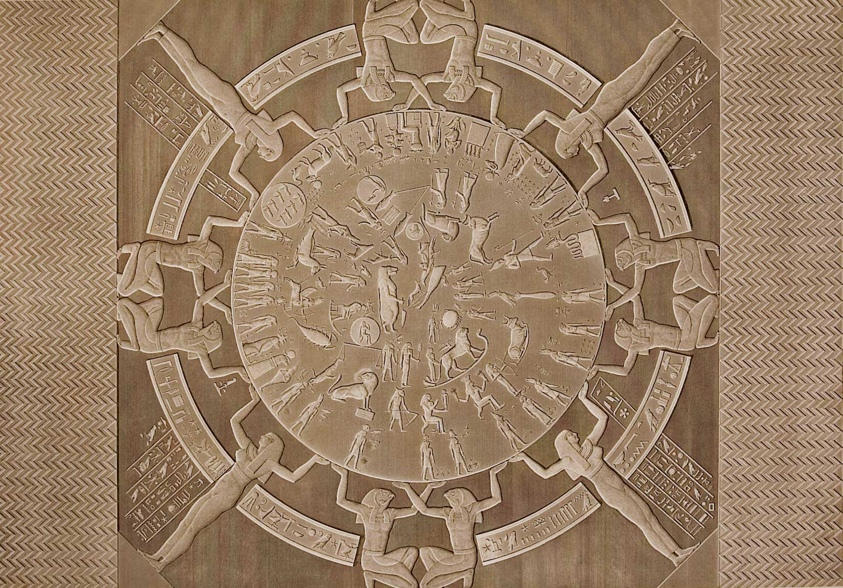 Zodiacal ceiling in the  pronaos  of the chapel of Osiris in the Temple of Hathor, Dendera, Egypt (50 BCE).
