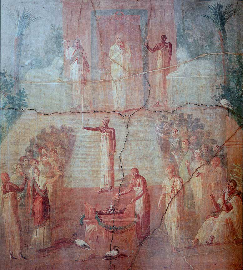 Egyptian priests performing a ritual to Isis, Roman period. Wall painting from the Herculaneum, first century CE.