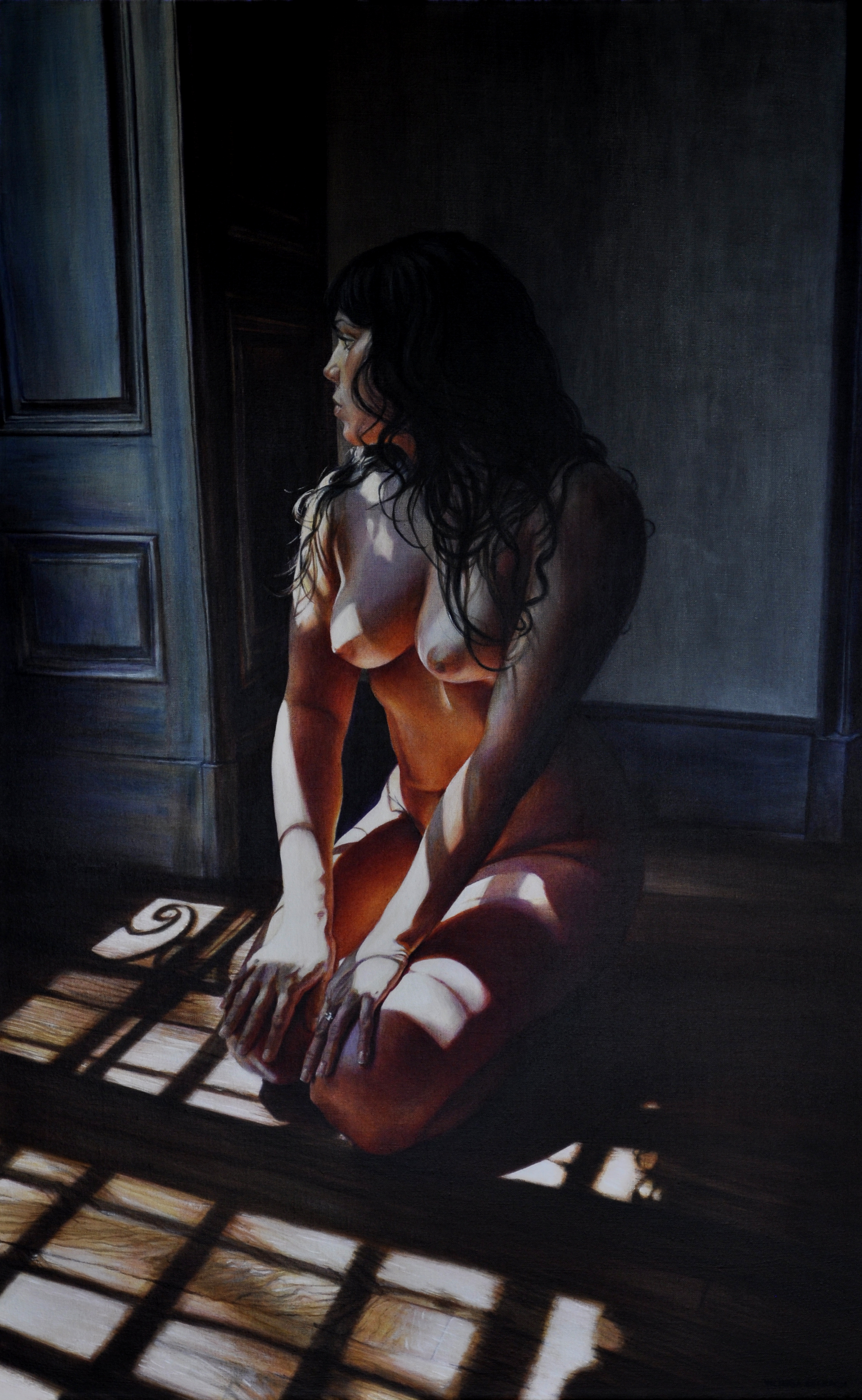 Victoria Selbech Mary at Mille Fleurs crylic on Canvas 48 x 30