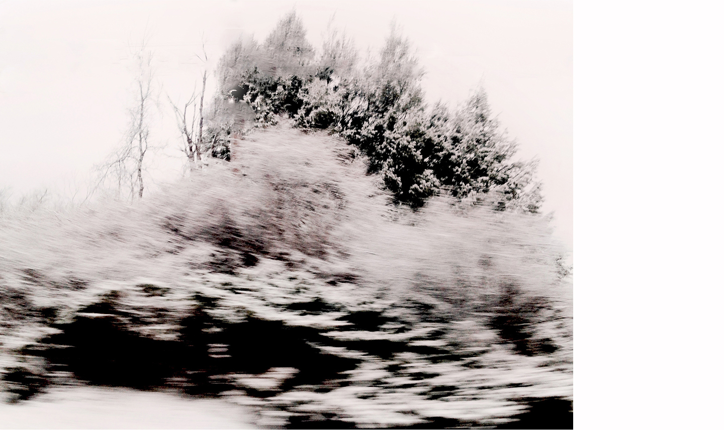 """Winterscape #11   Archival Pigment on Hahnemuhle German Etching Paper Rising Museum Acid Free Mounting Board Acrylite Non -glare UV Filtering Plexi Glass Custom White Oak Frame 29 x 34"""" including a 6"""" white mat border   $950"""