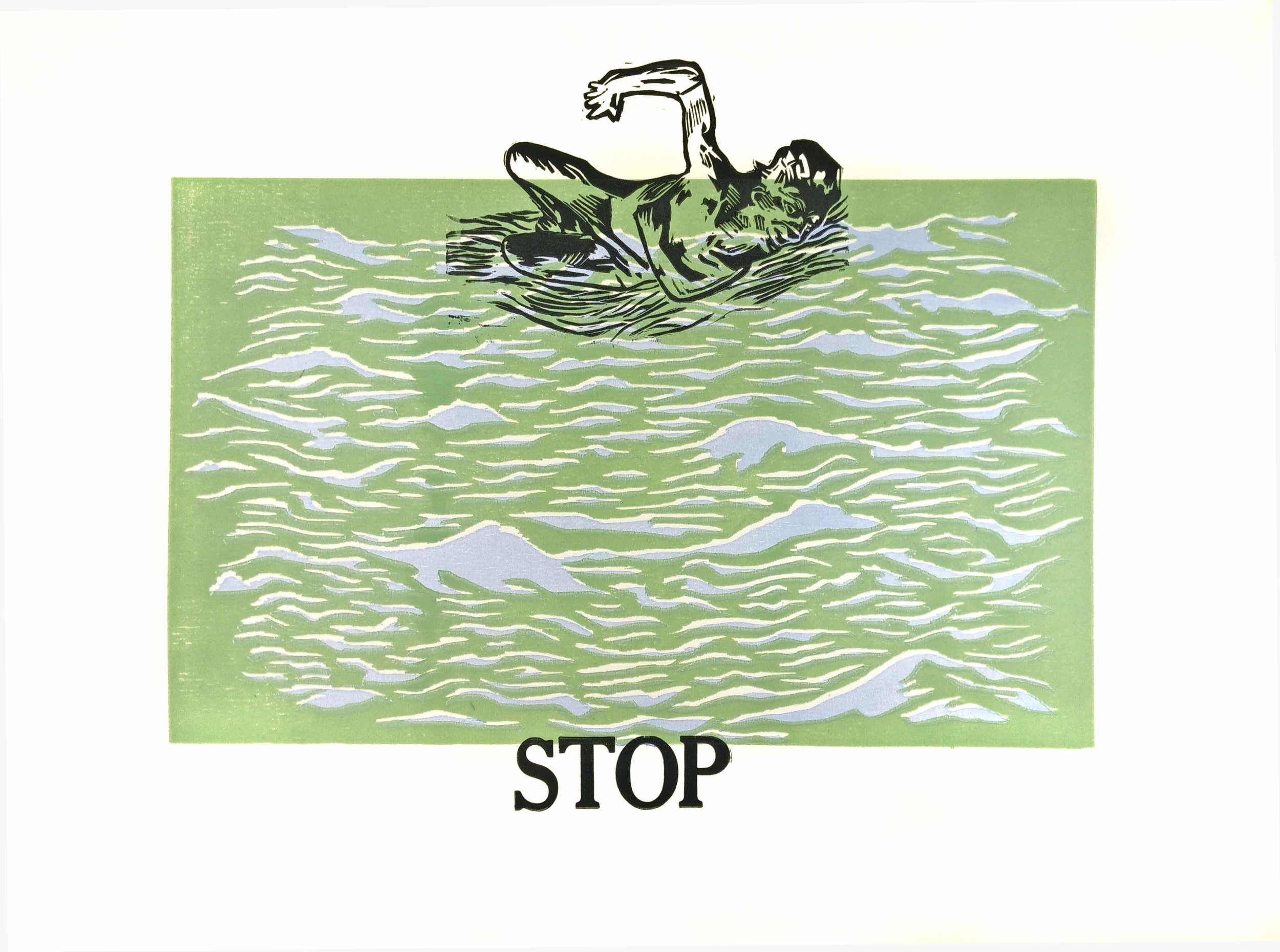 """If You Stop Swimming You Will Sink, Part I of III Wood Block Color 23 x 29"""" 2017 $350/ Set of Three $900"""