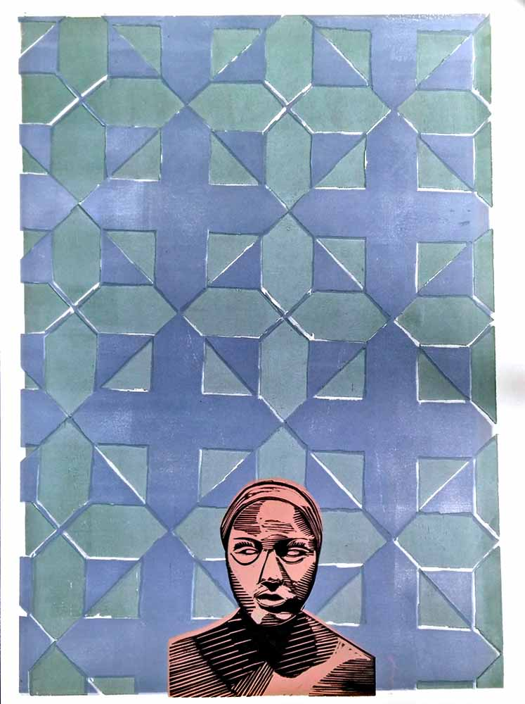 """Pattern Woman One Wood Block Color 23 x 29"""" 2016"""