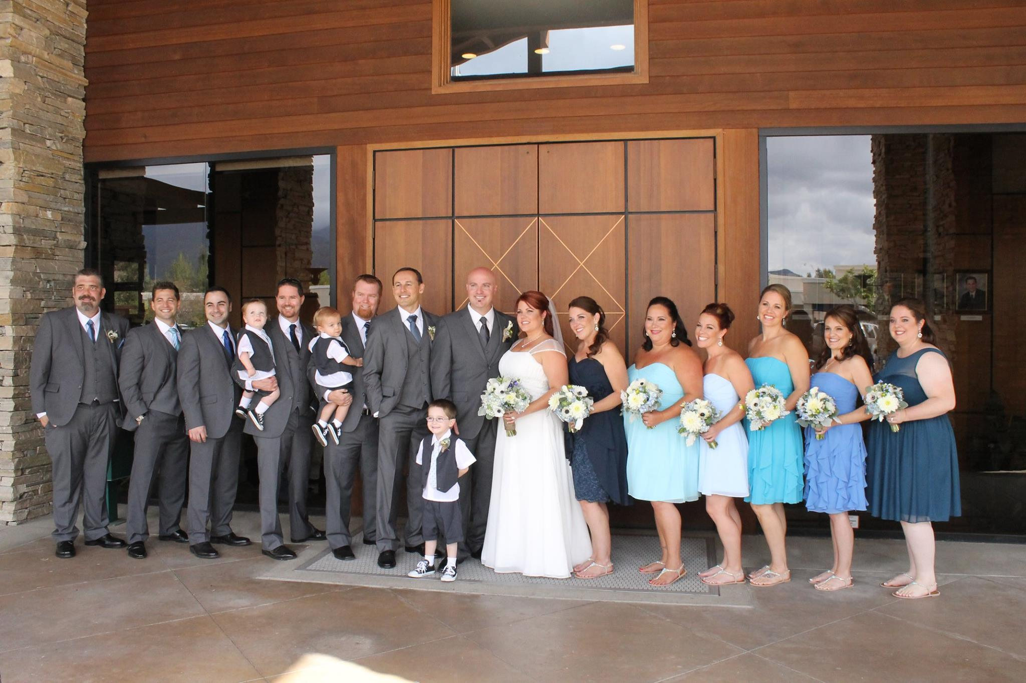 Bride groom groomsmen bridesmaids whites and blues