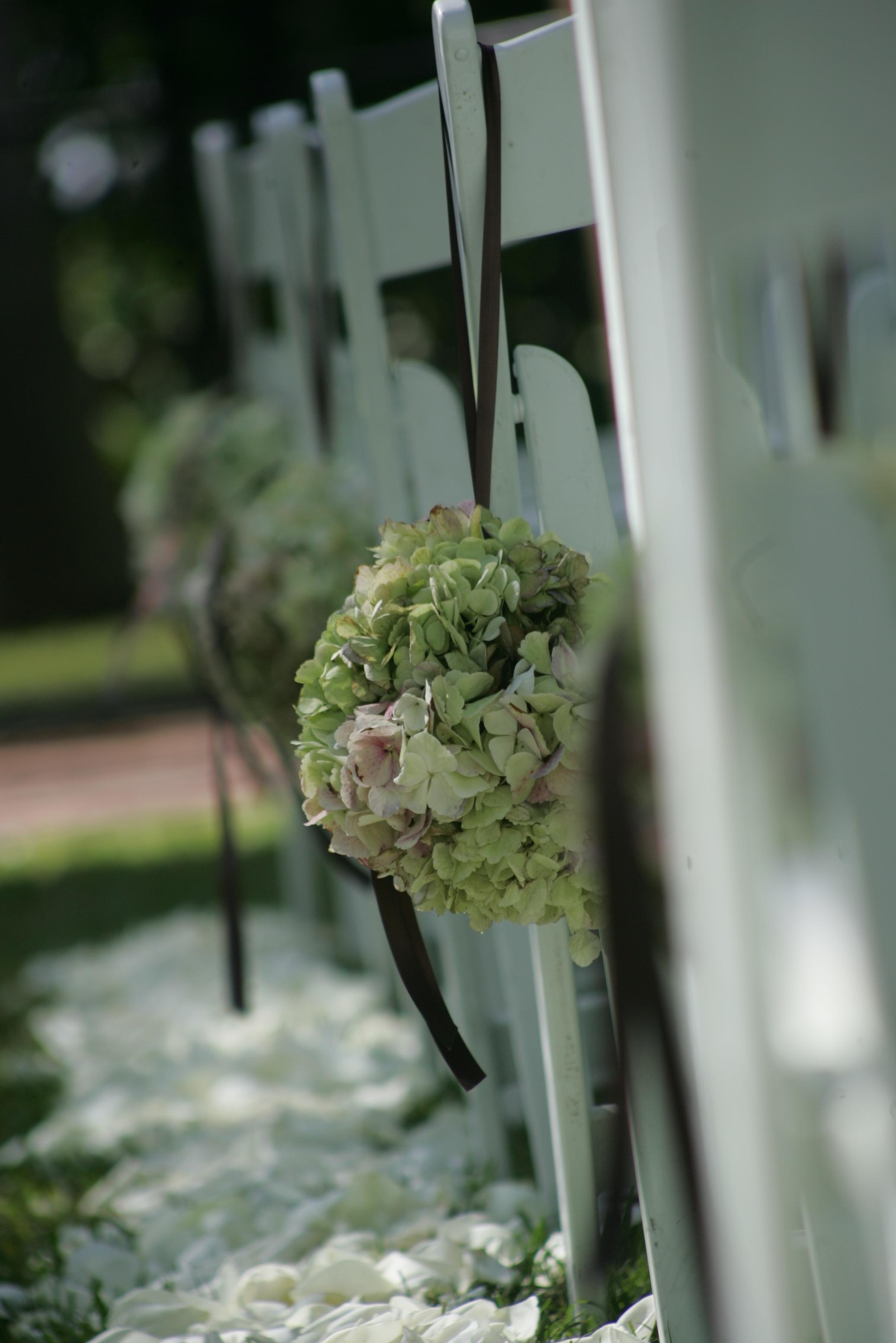 Aisle decor floral balls