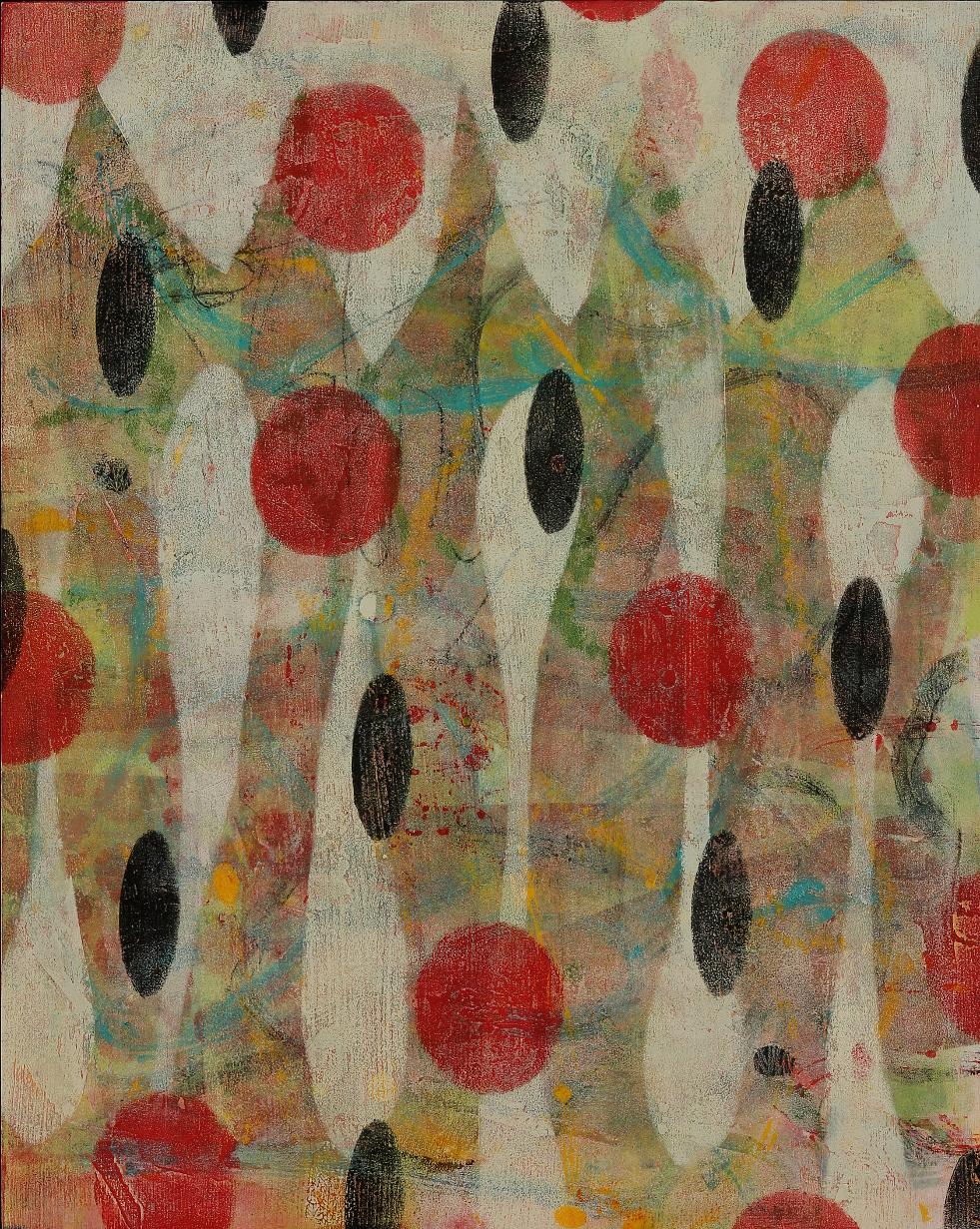 "Float #1, 2015, oil, wax, mixed media on panel, 20 x 16"""