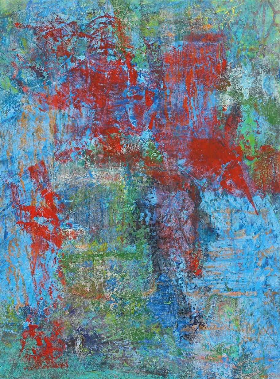 """Illumine #17, 2016, oil, wax, mixed media on paper on panel, 12 x 9"""""""