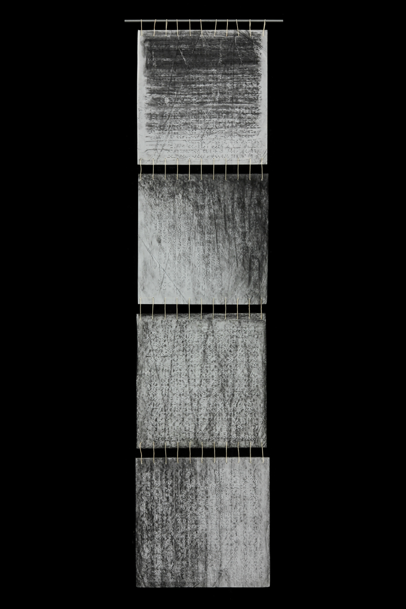 Braille Tapestry V, 2014, Beeswax, graphite, charcoal on paper, fiberglass, waxed linen thread, 50 x 13""