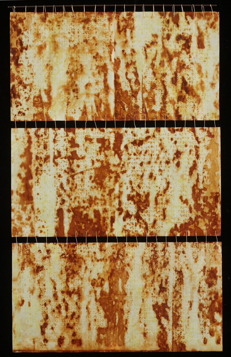 Braille Tapestry I, 2014, Beeswax, encaustic, rust transfer on paper, steel, waxed linen thread, 34 x 23""