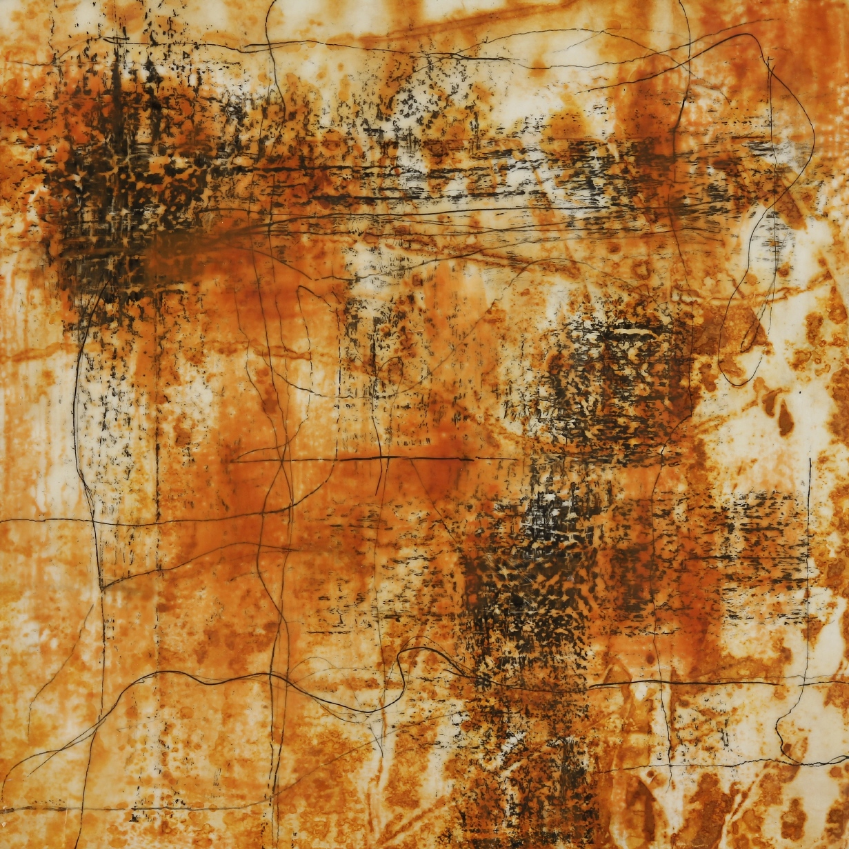 Rust #50, 2013, Rust, encaustic, India ink on paper on panel, 12 x 12""