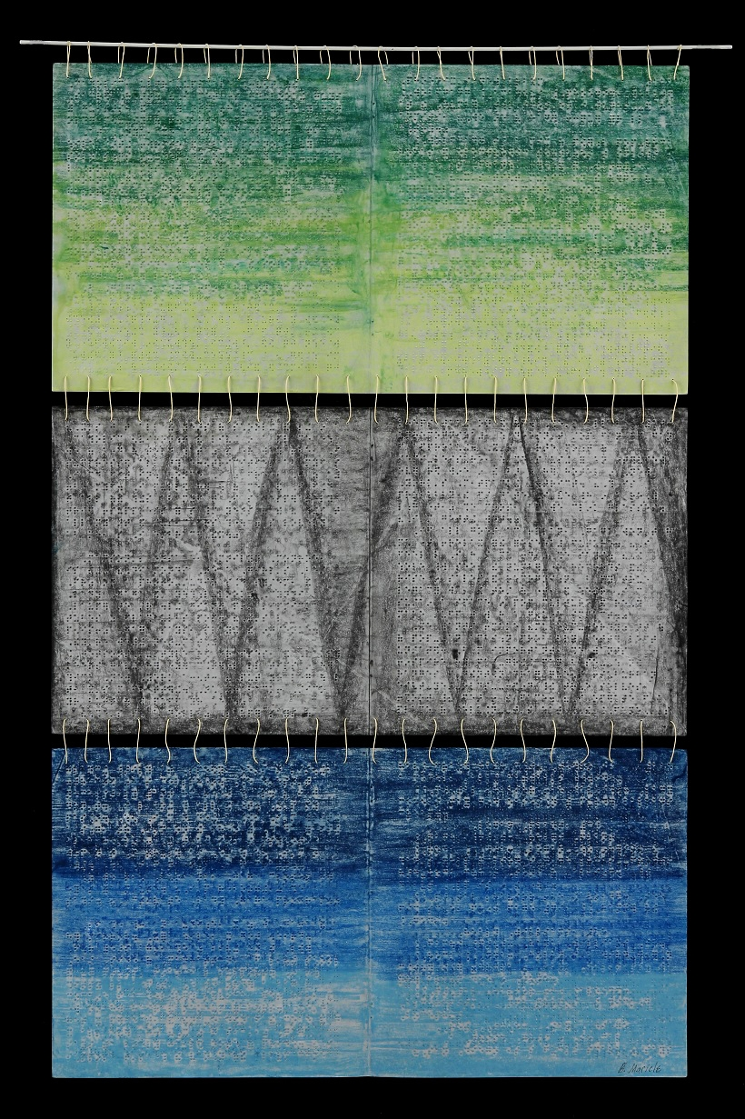 Braille Tapestry II, 2104, Beeswax, pastel, graphite on paper, fiberglass, waxed linen thread, 35 x 24""