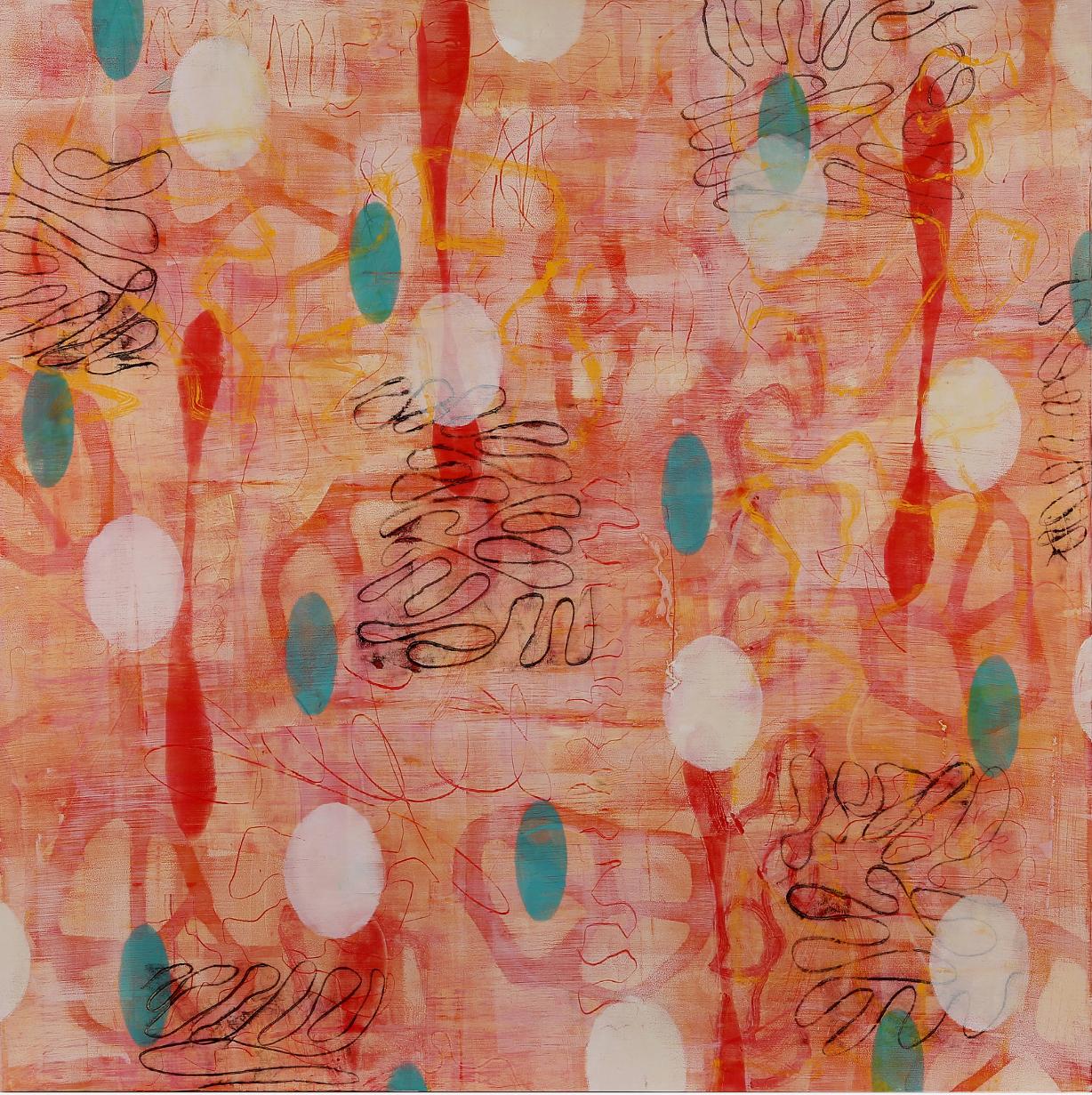 "Float #7, 2015, Oil, wax, mixed media on panel, 36 x 36"""