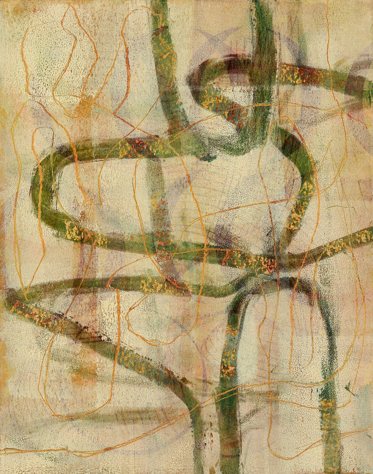 Entanglements #12, 2016, oil, mm on paper on panel, 14 x 11""