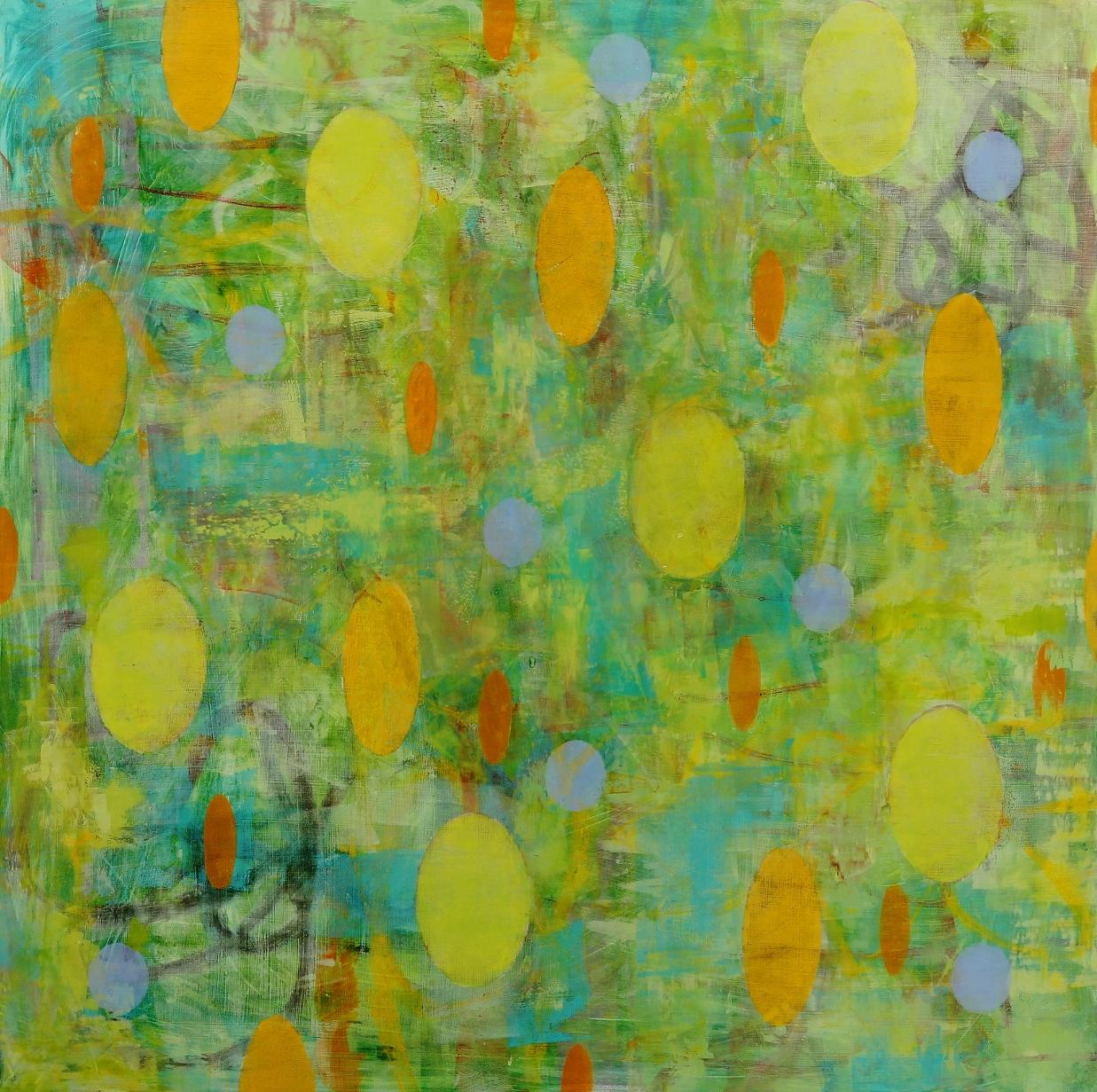 "Float #8, 2016, oil, wax, mixed media on panel, 36 x 36"""