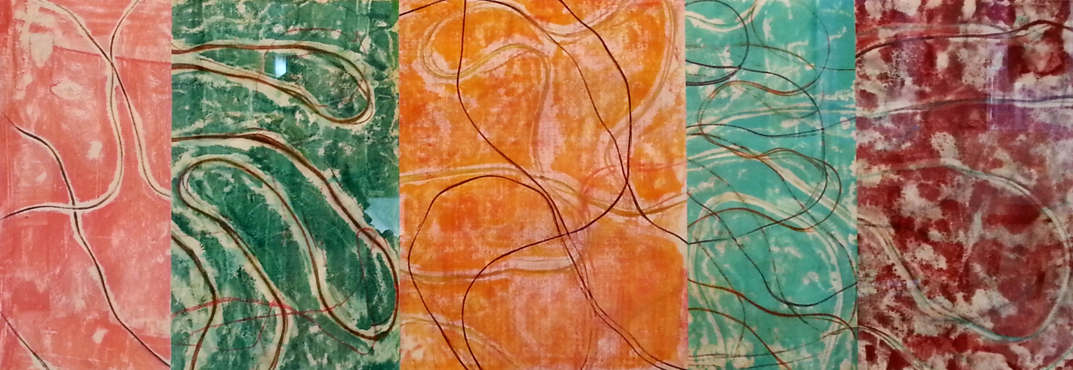 Line Work Sequence #1, 2016, Encaustic monotypes on various papers, 10 x 28.5""